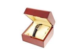 pudełkowaty kobiety srebra zegarka drewno Fotografia Royalty Free
