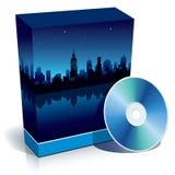 pudełko cd miasta nowoczesnej noc Obraz Royalty Free
