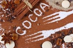 Puder des Kakaos. Lizenzfreies Stockbild