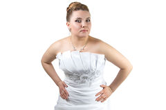 Pudgy Woman in wedding dress Royalty Free Stock Photos
