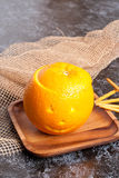 Pudim da elevação na laranja Halloween foto de stock royalty free