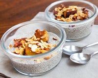 Pudim da semente do chia da baunilha com ameixas secas e as porcas cozidas Fotografia de Stock Royalty Free