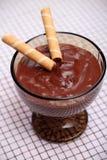 Pudim de chocolate com rolos do waffle Foto de Stock