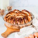 Pudim de pão com manteiga da noz Fotos de Stock Royalty Free