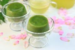 Pudim do chá verde fotos de stock royalty free