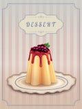 Pudim doce com caramelo e corintos Imagem de Stock Royalty Free