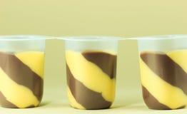 Pudim e baunilha de chocolate Imagem de Stock Royalty Free