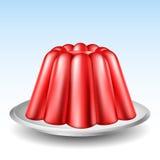 Pudim vermelho da geleia Fotografia de Stock Royalty Free