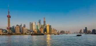 Pudong and the bund on hangpu river shanghai china Royalty Free Stock Photo