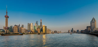 Pudong and the bund on hangpu river shanghai china Stock Images