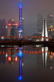 Pudong district night, Shanghai Stock Images