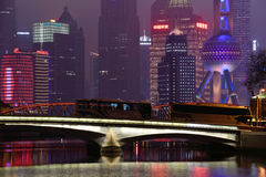 Pudong district night view from Suzhou Creek Stock Images