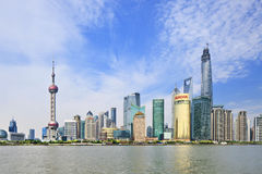Pudong District seen from Huangpu River, Shanghai, China Royalty Free Stock Image
