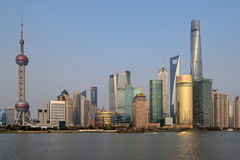 Pudong district view from The Bund waterfront area Stock Image