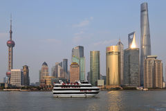 Pudong district view from The Bund waterfront area Royalty Free Stock Images