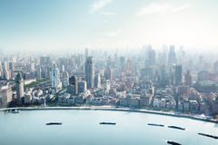 Pudong horisont, Shanghai, Kina Royaltyfri Fotografi