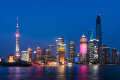 Pudong landmarks at night Royalty Free Stock Image