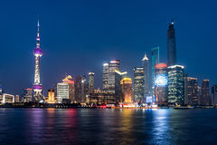 Pudong landmarks at night Royalty Free Stock Images