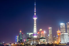 Pudong landmarks at night Stock Photo