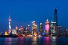 Pudong landmarks at night Stock Image