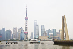 Pudong and Monument to the Peoples Heroes stock photography