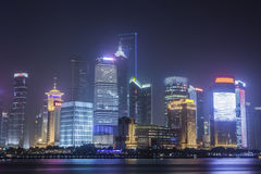 The Pudong at night. The Pudong in Shanghai China at night Royalty Free Stock Photos