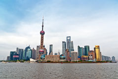 Pudong and Oriental Pearl tower. Royalty Free Stock Photo