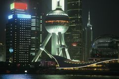 Pudong Oriental Pearl Tower at night in Shanghai China Royalty Free Stock Images