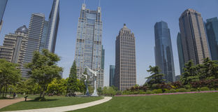 Pudong parka dnia panoramiczny widok Obrazy Royalty Free