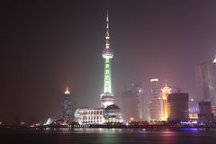 pudong shanghai ночи bund Стоковое фото RF