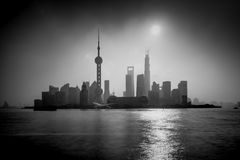 Pudong Shanghai silhouette Royalty Free Stock Photo