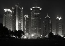 Pudong Shanghai skyline. Skyline of new Shanghai business distric Pudong excluding the oriental TV tower. This is downtown Pudong in the bank area ! Black and Royalty Free Stock Photo