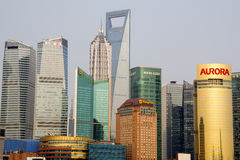 Pudong Skyline from Bund Shanghai China Stock Photo