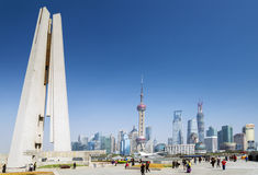 Pudong skyline and monument in shanghai china Royalty Free Stock Images