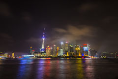 Pudong skyline at night Stock Images