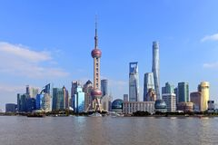 The Pudong skyline of Shanghai on a sunny day Stock Photo