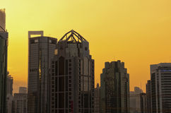 Pudong Skyline at Sunset. The modern buildings around Pudong New Area near Century Avenue in Shanghai China at sunset Royalty Free Stock Photos