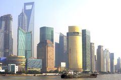 Pudong skyline at sunset, Shanghai, China Stock Photo