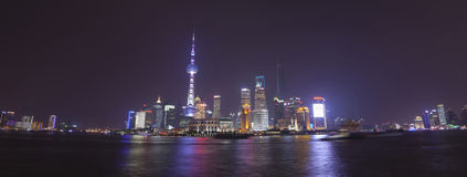 Pudong view on the Bund embankment in Shanghai, China Royalty Free Stock Photography