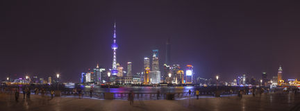 Pudong view on the Bund embankment in Shanghai, China Royalty Free Stock Photo