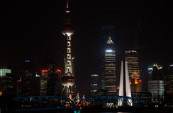 Pudong waterfront at night shanghai china Stock Photo