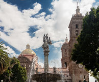 Puebla Cathedral Fountain Royalty Free Stock Image