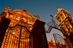 Puebla Cathedral at night - Puebla, Mexico Royalty Free Stock Photo