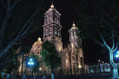Puebla Cathedral. At night - is a Roman Catholic colonial cathedral consecrated in 1649. It is a major landmark in the city Royalty Free Stock Images