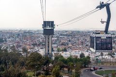 Puebla City and Aerial Tramway Royalty Free Stock Image