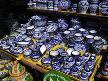 Puebla Dishware. Photo of dishware for sale at an outdoor market in Puebla Mexico royalty free stock image