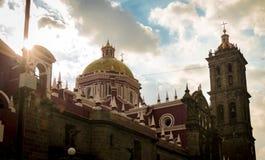 Puebla-Kathedrale - Puebla, Mexiko Stockbilder