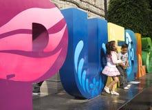 Puebla, México 6 de novembro de 2016: Um sinal colorido de Puebla para o turismo Fotografia de Stock Royalty Free