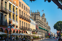 Puebla Street and Town Hall Royalty Free Stock Image