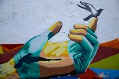 Puebla, Mexico-November 7, 2016: Peace graffiti Stock Photo